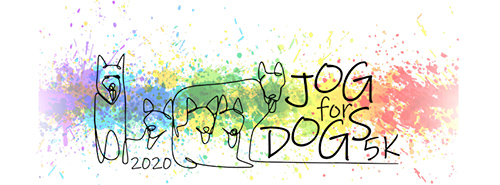 sketch of dogs and words 2020 Jog for Dogs
